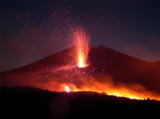 An eruption at night