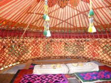 Interior of a kyrgyz yurt