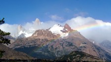 A rainbow in front of the Fitz Roy Massif (Argentina)