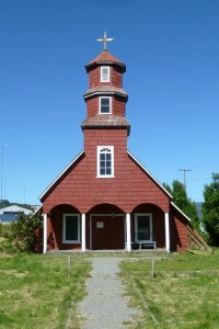 A typical church on the island of Chiloé (Chile)