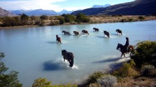 Horses crossing the Catarina river near Estancia Cristina (Argentina)