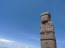 A statue in Tiwanaku