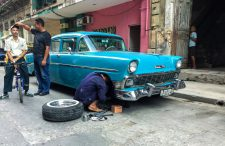 A 1956 Chevrolet 210 being fixed