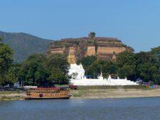Hsinbyume Pagoda (Myatheindan) in front of abandoned Mingun Temple near Mandalay