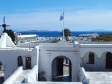 View of the city of Tinos from the church Panagía Evangelístria (Our Lady of Tinos)