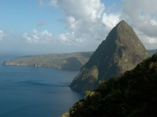 View of the Petit Piton when hiking the Gros Piton, Saint Lucia