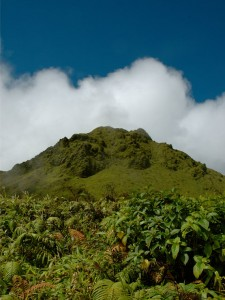 A clear view of the summit of Mount Pelée, Martinique
