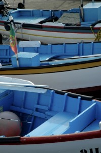 The typical coloured fishing boats of the island