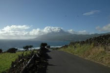 View of the volcano on arrival at Lajes do Pico from the Southeast