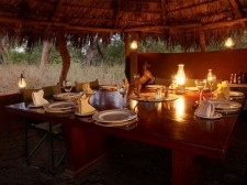 A table set for dinner at the Botswana camp