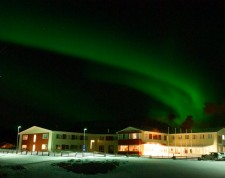 Northern lights on the hotel
