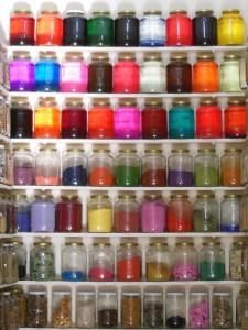 Dye shop in the souk of Marrakech