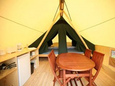 Inside view of a tent in the park Pointe Taillon