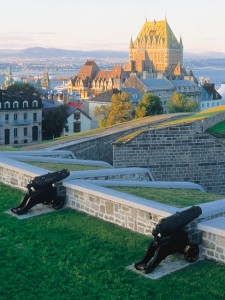 View of the Frontenac castle and the old town of Quebec city