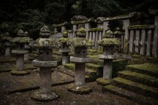 A close-up on the stone lanterns