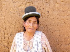 "Portrait of a ""cholita"" with her characteristic bowler hat"