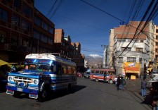 A street in La Paz with one of the famous buses
