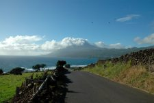 View on the volcano when arriving at Lajes do Pico by the south-east coast