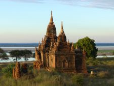 A temple in Bagan along the Irrawaddy River