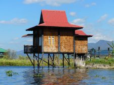 A bamboo woven stilt hut on Inle Lake