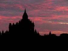 Temple at sunset in Bagan